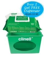 Clinell wipes offer with wall mounted display