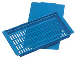 Perferated blue plastic tray with lid